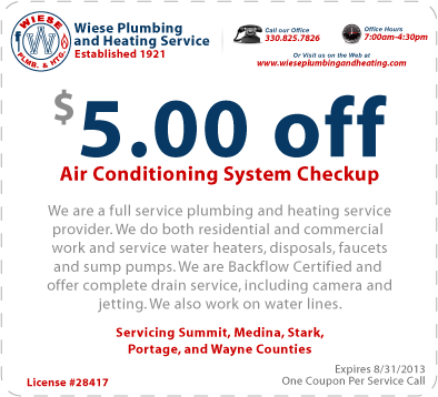 Wiese Plumbing and Heating 2013 Air Conditioning Coupon